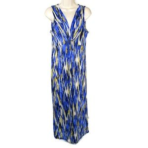 Ruby Rd. Straight Maxi Dress Size S Blue Yellow
